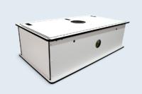 Caisson technique, panneaux compact HPL assemblés par vis autotaraudeuses.