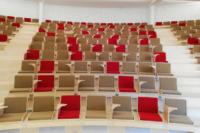 Coques de siège en contreplaqué hêtre installées sur site, vue d'ensemble.