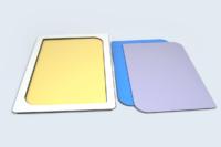 Plateau de présentation à fonds interchangeables - Stratifié compact couleur.