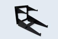 Présentoir HPL livraison en kit, assemblage des pièces par accrochage.